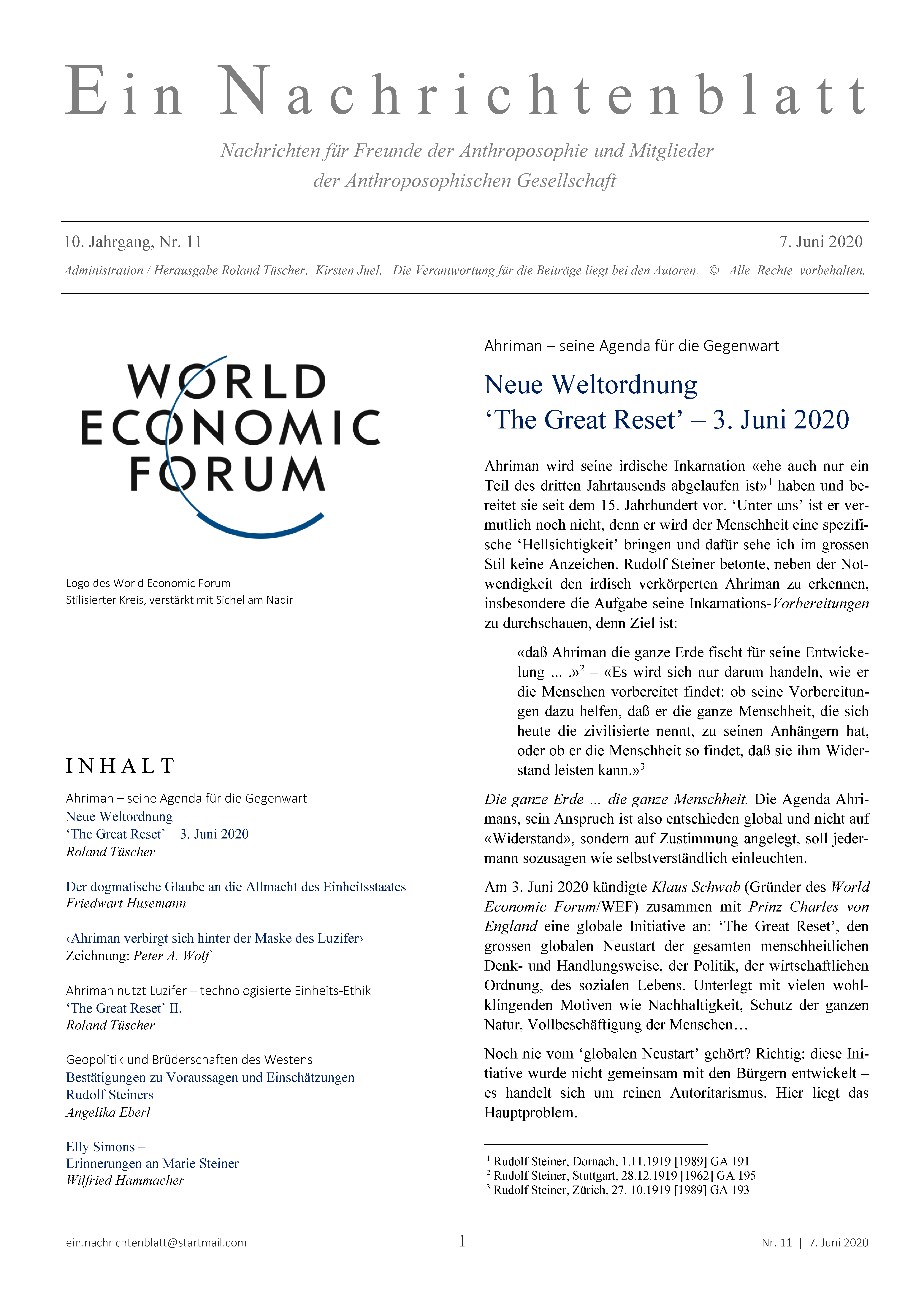 Ein Nachrichtenblatt Nr. 11 2020 (Druckausgabe)